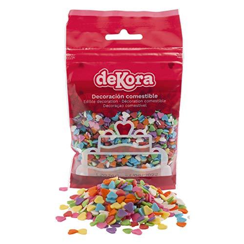 dekora - Confetti di Zucchero Multicolore a Forma di Cuore Senza, Glutine Senza Lattosio, 100g, (434009)
