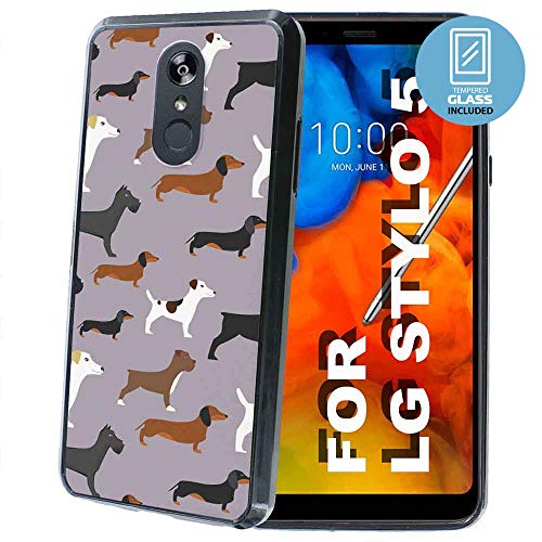 NakedShield Black Thin Edge Bumper Case Compatible for LG Stylo 5,5v,Dogs Pattern Print,Dual-Layer Guard Bumper,Glass Screen Protector Included,Designed in USA