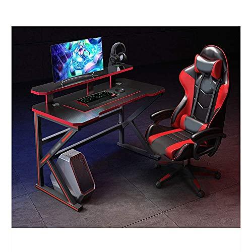 Gaming Rocker Stuhl und Gaming Desk Set, Ergonomischer Gaming Stuhl im Rennstil , Caming Desk, Computertisch und Stuhl Set mit Getränkehalter und Kopfhörerhaken Racing Style Liegestuhl Gamer Workstati