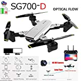 ALOVEMO SG700-D RC Quadcopter Foldable Drone 4CH 2.4G 1080P HD WiFi FPV Dual Camera Live Video 6-Axis Optical Flow, Headless Mode, Altitude Hold One Key Return Long Flight Time Kids Beginners (White)