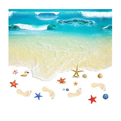 #N/V Vinilo adhesivo para pared con diseño de playa en 3D, para dormitorio, cocina, baño, pintura para suelo, autoadhesivo, extraíble, antideslizante,