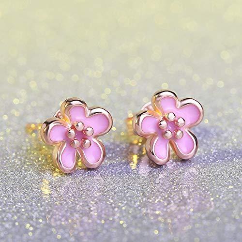 FEARRIN Pendientes de aro Flores de melocotón Rosa Flor Preciosa Pendientes de Plata Margaritas púrpuras Perno Prisionero para niñas Pendientes de Flor de Cerezo de Sakura Lindo Rosa
