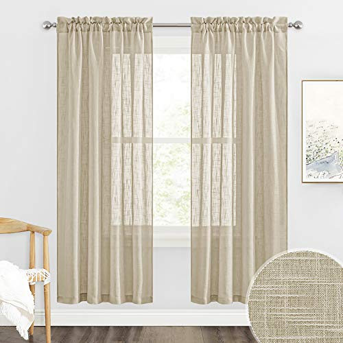 RYB HOME Semi Sheer Curtains - Linen Textured Curtains Privacy Farmhouse Curtains Boho Window Decor for Living Room Bedroom Home Office, Taupe, 52 x 72 inch Long, 2 Panels
