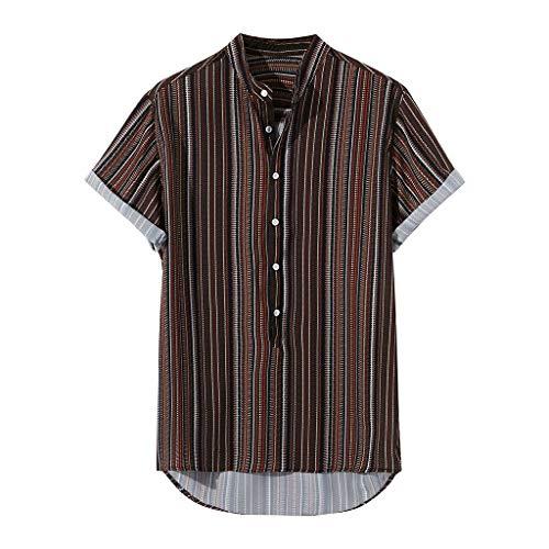Camisas de Verano para Hombre, Camisetas de Manga Corta con Estampado de Rayas Verticales Boho Tops para Hombres Camisas Informales con Cuello en V Camisas de Polo Irregulares