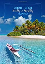 Weekly And Monthly Planner: Organize Your Daily Activities At Home School And Office - Blue Tahiti Island Landscape (2020-2021)