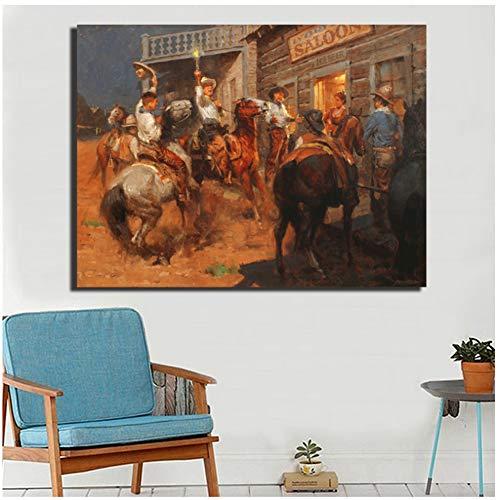 DNJKSA Western Cowboy Indian HD Wandkunst Leinwand Poster Malerei Wandbild Druck Schlafzimmer Kunstwerk Raum Bilder Home Decoration -60x90cm No Frame