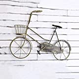 Dekoration Pastorale Schmiedeeisen Fahrrad Wanddekorationen Wanddekorationen Kreative Wanddekorationen Anhänger Bar Wand (Color : Gold)