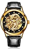 TEINTOP Aesop Men's Watch Automatic Mechanical Chinese Dragon Skeleton (Blue Leather Black)