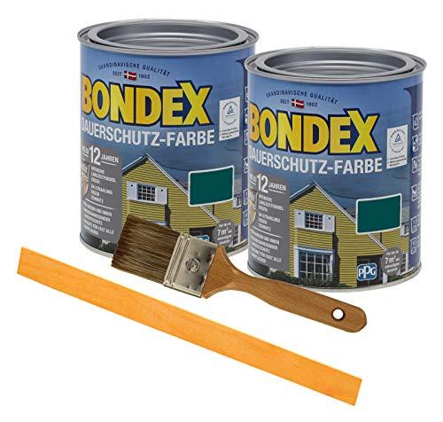 Bondex Dauerschutzfarbe deckend 2 x 0,75l Wetterschutzfarbe Holzschutzfarbe Holzfarbe bis zu 12 Jahre wetterbeständig für Holz und Zink Außen inkl. Pinsel und Rührstab (moosgrün)