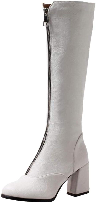FANIMILA Women Block Heel Knee High Boots Zip