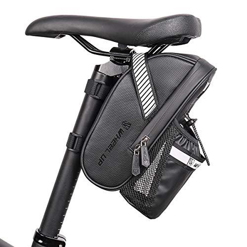 21 SPEED Bolsa para sillín de bicicleta con bolsillo para botellas, impermeable, reflectante, para bicicleta de montaña, de carreras, color negro, 1 L