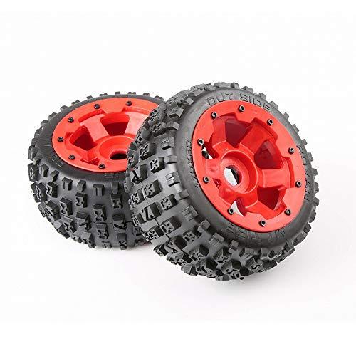 TMIL Baja 5B Zweite Generation Ödland Reifen Hochfeste Nylonrädern Eingestellt Mit 24-Koppler Für RC Rovan HPI EIN Fünftel Baja 5B Gasauto,Rot,85074rearwheel