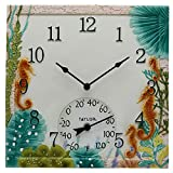 Taylor Precision Products 92686T 14'x14' Poly Resin Seahorse Clock with Thermometer, Multicolored