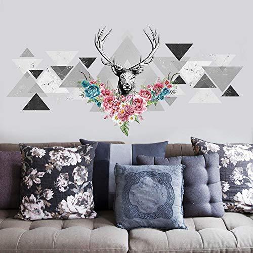 Kldfig Scandinavisch modern design creatief geometrische patroon hertenkop muursticker bloemen decor vinyl woonkamer eetkamer muursticker 50 x 110 cm
