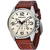 Torgoen T16 Cream Swiss Chronograph Pilot Watch - 44mm Dial - Vintage Leather Strap …