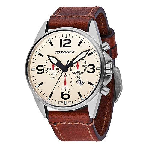 Torgoen T16 Cream Swiss Chronograph Pilot Watch - 44mm Dial - Vintage Leather Strap …