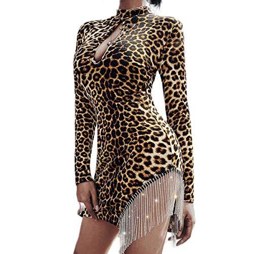 Vestido Mujer Mini con Tirantes sin Mangas Sexy Elástica Vestido con Flecos Mujeres Diario, Cita, Bailar, Fiesta, Salir de Noche, etc. (Leopardo, L)