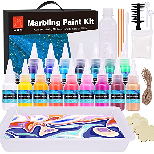 WeeYo Water Marbling Paint Kit for Kids, Water Art Paint Set, Arts and Crafts for Girls & Boys Ages 6-12, Ideas for Kids Activities Age 4 5 6 7 8 9 10 Marble Painting, 16 Colors(20ml)