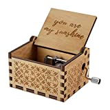 NNDUO You are My Sunshine Wood Music Boxes,Laser Engraved Vintage Wooden Sunshine Musical Box Gifts for Birthday/Christmas/Valentine's Day (You Are My Sunshine)