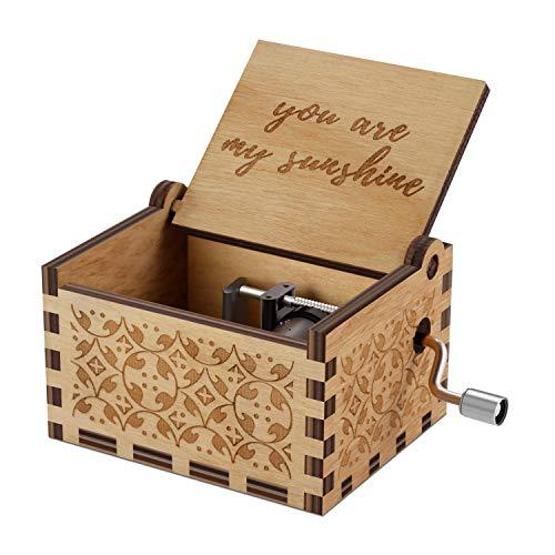 """NNDUO Musikkästchen aus Holz """"You are my Sunshine"""", Spieluhr mit Laser-Gravur, Vintage-Box, Geschenk, für Geburtstage, Weihnachten, Valentinstag, holz, Du bist mein Sonnenschein, 2.55*1.97*1.5 inch"""