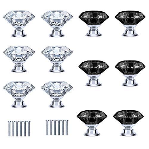TAZEMAT 12pcs Pomo para Cajón Forma de Diamante Brillante Tirador de Cristal para Armario Perilla de Puerta con Tornillo Manijas para Muebles Aparador Color Transparente y Negro