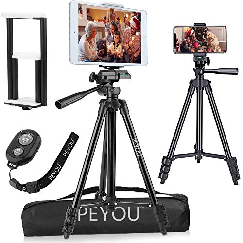 PEMOTech 50' Tripod [Thicker Legs] for Tablet Phone Camera+Phone and Tablet Holder +Remote Control+Bag Compatible for iPad 9.7'/Air/Mini Samsung Tab/S9/Note 9 iPhone XR/XS MAX/X/8/7/6/Plus (4'-10.5')