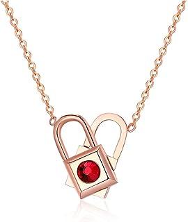 Rockyu Lock Necklace for Women Choker Rose Gold Stainless Steel Lock Pendant Revolvable Heart Shape Love Lock Variety of W...