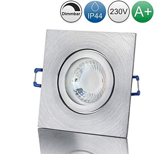 lambado® Premium LED Spot IP44 Dimmbar Alu Feinschliff - Hell & Sparsam inkl. 230V 5W GU10 Strahler warmweiß - Moderne Beleuchtung durch zeitlose Bad-Einbaustrahler/Deckenstrahler für Außen