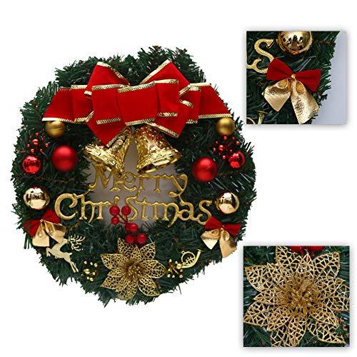 Schneespitze Ghirlanda di Natale,Natalizia Decorativa,Corona di Pino Decorazione per Natale Ghirlanda di Ornamento,Vintage Fiore Artificiale