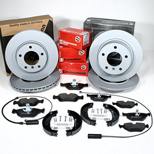 Zimmermann Bremsscheiben Coat Z + Bremsbeläge für vorne + Bremsen Set + Handbremse mit Zubehör hinten