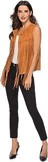 MIAIULIA Women Fringe Vest Faux Suede Tassels 70s Hippie Clothes Open-Front Sleeveless Vest Cardigan