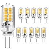 LED G4 Bulbo 3W Equivalente a 20W Halógeno Bombillas, Blanco cálido 3000K, g4 Enchufe El ahorro de energía Lámpara, Sin parpadeo, no regulable, 350LM, 12V AC / DC, paquete de 10