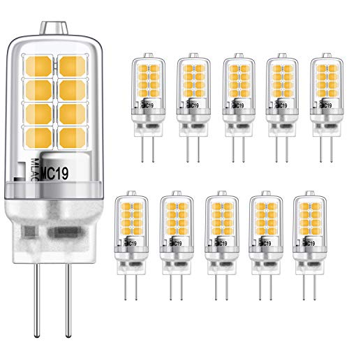 G4 LED Birne 3W Gleichwertig 20W Halogen Glühbirnen, Warmweiss 3000K, g4 fassung Energie sparen Lampe, Kein Flimmern, nicht dimmbar, 350LM, 12V AC/DC, 10er Pack