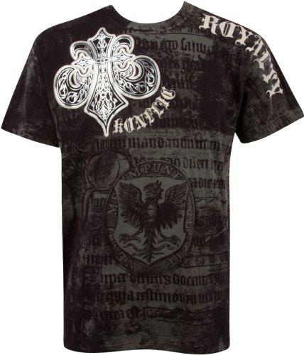 Sakkas Royalty Metallic Silber Short Sleeve Crew Neck Baumwolle Herren Fashion T-Shirt Gr. Medium, schwarz