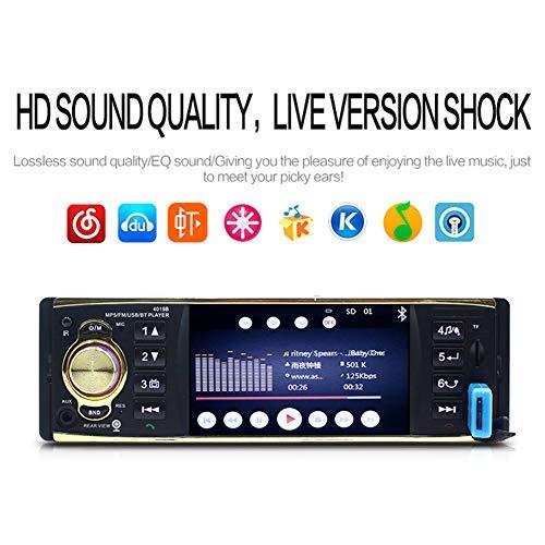 Beesclover 4019B Autoradio MP5 Lecteur 1 Din HD 800 x 480 Bluetooth FM/AUX/USB/TF Volant Support Caméra de recul Noir