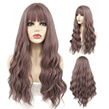 Peerless Grey Pink Wig With Bangs 27 Inches Long Wavy Synthetic Wig Middle Part For Women Daily Use Natural Looking Costume Party Cosplay Wig Heat Resistant Fiber
