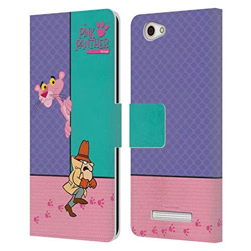 Head Case Designs Offizielle The Pink Panther Verstecken Pink Freude Leder Brieftaschen Huelle kompatibel mit Wileyfox Spark X