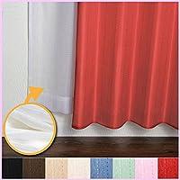 窓美人 ステップ ドットストライプ柄カーテン&UVカットミラーレース 各1枚 幅150×丈200(198)cm レッド
