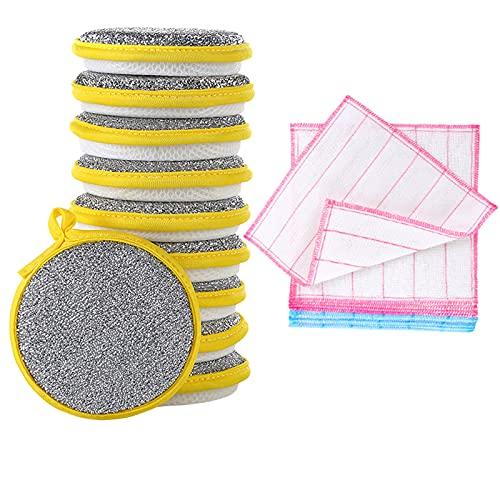SqSYqz Esponjas de Fregar Multiusos para Cocina, Esponja de Microfibra Que no Raya Junto con Poder de fregado de Alta Resistencia, 10 Piezas de Plata 5 Piezas de paño de Cocina de Hilo de algodón