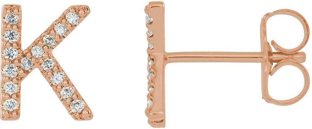 Solid 14k Rose Gold .06 Cttw Diamond Single Each Earring Sold Seperately Alphabet Initial Letter K Stud Earring (8mm x 6.3mm)