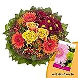 Dominik Blumen und Pflanzen, Blumenstrauß 'Füllhorn' mit orangen Rosen und Germini und Grußkarte 'Geburtstag'