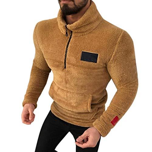 WuWangHai Herren Teddy-Fleece Jacke mit Taschen Warm Plüsch Mantel Hoodie Kapuzenpollover Sweatshirt Outwear