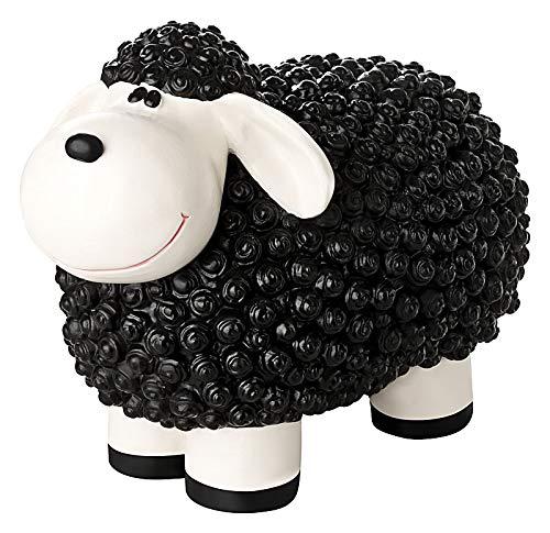 incubado Mini Schaf Molly Deko-Figur Gartenfigur, Gartendekoration für den Garten Außen-Bereich, klein (schwarz)