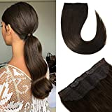WindTouch Halo Hair Extensions Dark Brown #2 20inch Remy Real Human Hair Wire Halo Extensions 100g/Pack Invisible Hidden Secret Fishline No Glue Flip In Hair Extensions