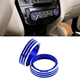 CARFIB AC Knobs Caps for Nissan ROGUE Accessories S SL SV Air Control Volume Push Auto Sync Decals Stickers Parts Covers Car Interior Inside Decoration Men Women Aluminum Alloy Blue Pack of 2