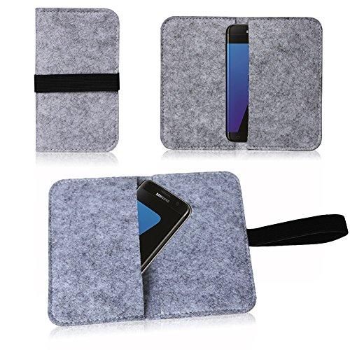 NAUC Filz Tasche für Smartphone Cover Hülle Hülle Schutzhülle Handy Flip Filztasche, Farben:Hell Grau, Handy Modelle für:ARCHOS Diamond 2 Plus