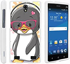 TurtleArmor   Compatible with ZTE ZMax 2 Case   ZMax 2 LTE Case   Z958 [Slim Duo] Ultra Fitted Slim Hard Cover Snap On Shell Protector on White Animal - Cute Penguin