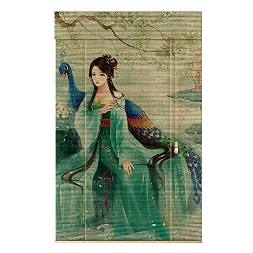 WUFENG Bambus Rollo Staubdicht Halbschattierung Drucken Rollo Hintergrund Dekoration Abgeschnitten, Mehrere Größen Anpassbar Türvorhang (Color : A, Size : 120cmx150cm)