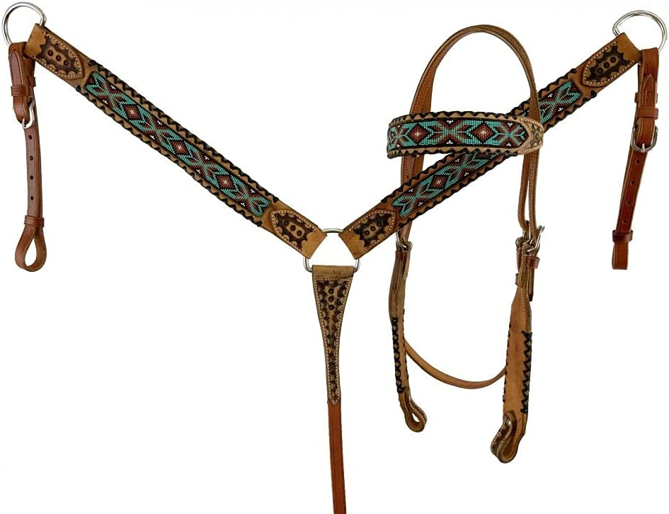 Showman Beaded Browband Leather New item Headstall Breast Set Colorado Springs Mall Collar w