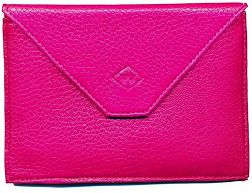 Schutzhülle mit Klappe, aus Leder, für Fahrzeugdokumente, Führerschein usw., Fuchsia (Pink) - rabat-fushia